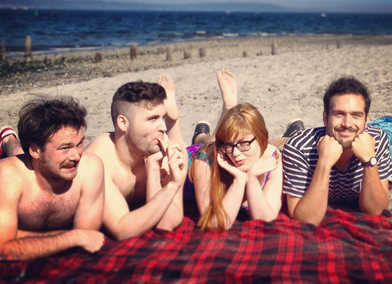 The cast of Real Adult Feelings at the beach.